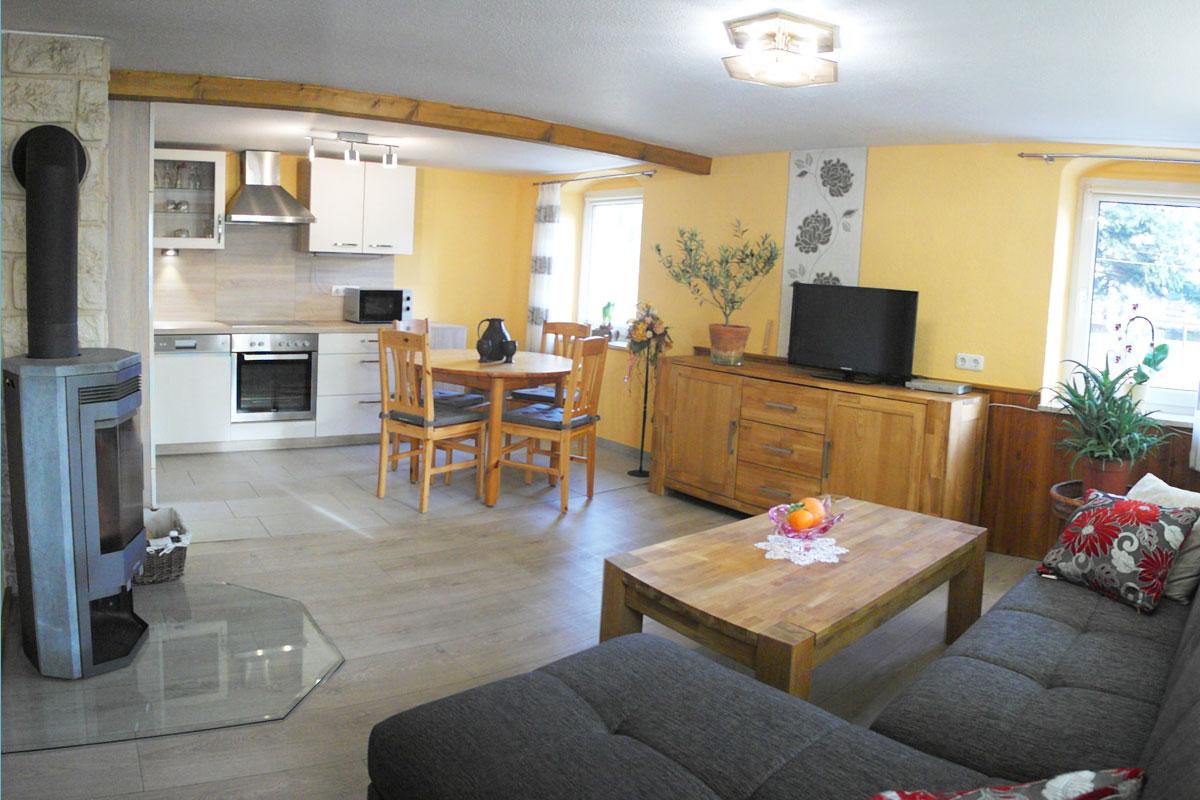 Wohnküche mit Kamin, TV und Sofa mit Couchtisch